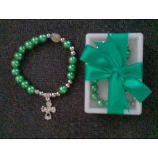 Rosary Bracelet Pearl in Acrylic box with ribbon Souvenirs and Giveaways