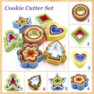 🍪 COOKIE CUTTER SET [ Scallop • Circle • Round • Square Heart • Flower • Star • Christmas Tree • Ginger Bread Man]  Cake Decorating Tool for Fondant Cake & Cupcake • Bread Dough • Pastry • Sugar Craft • Jelly • Gum Paste • Polymer Clay Art Craft •