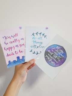 [SALE] [INSTOCK] Watercolour Calligraphy Cards