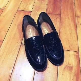 正韓 學院風流蘇低跟黑色紳士鞋 樂福鞋 38