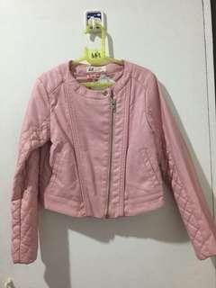H&M light pink leather jacket