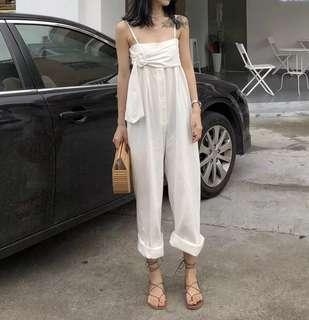 連體褲女夏裝2018新款高腰顯瘦吊帶抹胸寬松闊腿褲子