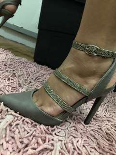 Strappy Pointed Gray Heels