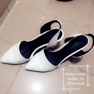 韓國羊皮白色低跟鞋