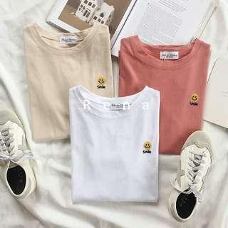 🚚 韓國刺繡笑臉短袖T恤