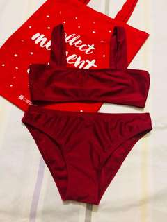 Maroon Simple Two Piece