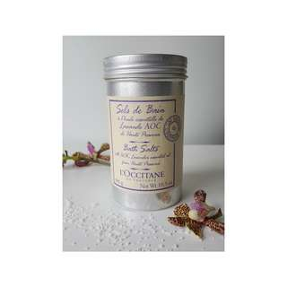 L'Occitane Lavender Bath Salts 10.5 oz. 300g aluminum canister relaxing self care #selfcare