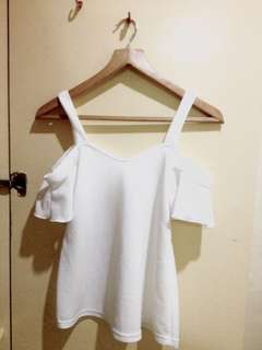 White off shoulder with strap