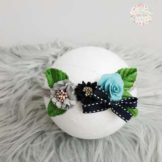 🚚 Triplet flower headband for baby and kids ( gray, black, blue )