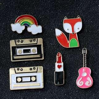 #230 fox casette tape lipstick rainbow guitar tumblr enamel pin   po