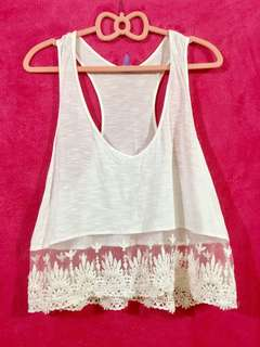 White Lace Halter Crop top