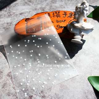 標準款:10cm*10cm+自黏處3cm*400張 烘焙 白色點點 透明 磨砂 霧面 自黏袋 DIY 生日禮品 餅幹糖果包裝袋 O