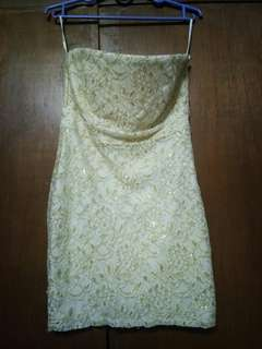 F21 White Tube DRESS with Gold Lace