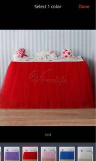 Tule table skirting for party -Red