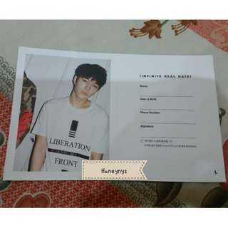 Infinite L Myungsoo - Reality Official Date Card