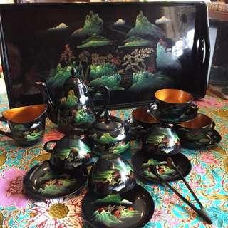 Vintage Chinese Lacquer Tea Set