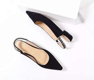 Slingback flats/sandals with diamond finish-black