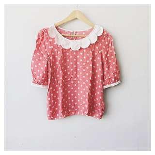 Polka dots peter pan collar blouse