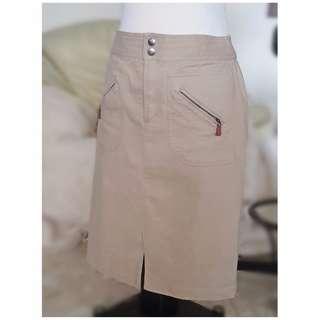 Ralph Lauren Beige Cream Pencil Skirt Leather Trim Office Business Professional Size #lauren #ralphlauren business attire office clothes smart casual