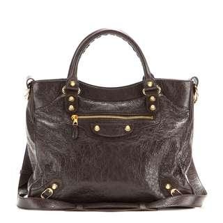 afce5fdb4c Authentic Balenciaga Velo Brown Giant Gold Stud Bag