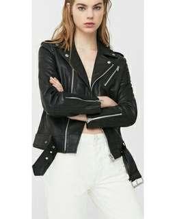 Mango Black Leather Biker Jacket Women's Real Leather
