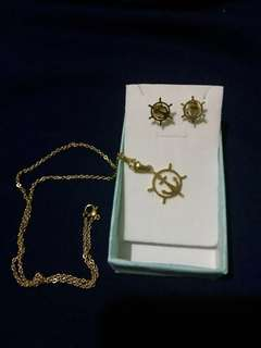 Anchor necklace and earrings