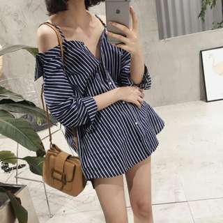 [INSTOCKS] Stripes Off Shoulder Shirt