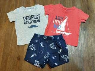 Carter's 短T兩件+短褲一件 合售(12個月)