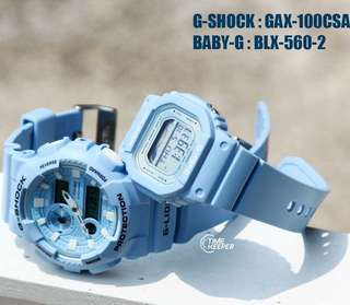 COUPLE💝SET BABYG GSHOCK G-LIDE DIVER SPORTS CASIO WATCH : 1-YEAR OFFICIAL WARRANTY: 100% ORIGINALLY BABY-G-SHOCK Resistant in Ocean Sea Blue ABSOLUTELY-TOUGHNESS BEST GIFT For Most Rough Users & Unisex : GAX-100CSA + BLX-560 ✅ GAX100CSB / GAX-100CSA