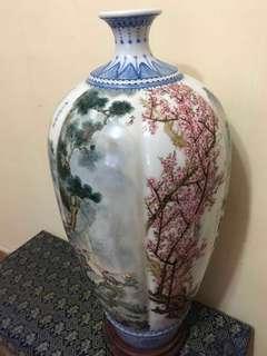 民國延慶楼賞瓶 珠山八友圖六幅梅瓶 高24寸