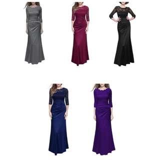 Lace Baju Kurung Hari Raya Modern Solid Colour