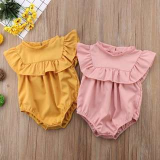 Basic Romper in mustard yellow/dusty pink