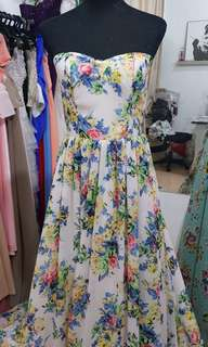 Chiffon floral printed gown