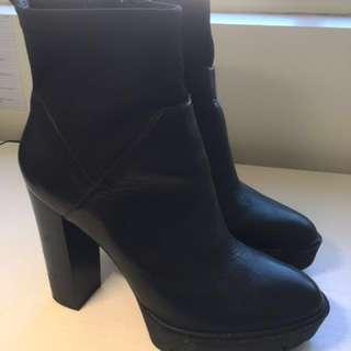Wittner Leather Platform Heel Boots Size 40