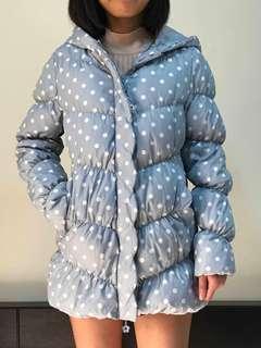 Blue Polka Dots Bubble Jacket