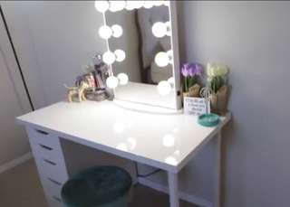 Frameless Vanity mirror, table and stool