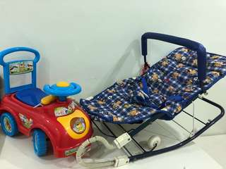 Baby Swing Bed + Toy Walker Car