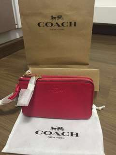 For fast deal! BN Coach Leather Double Zip Wristlet