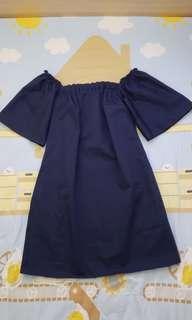 全新深藍色一字膊裙