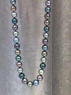 8.5-10.7天然炫彩孔雀綠海水項鍊,集於了大溪地中的精華色彩~~~