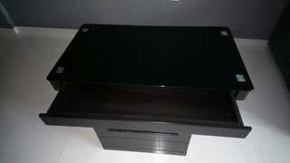 Dark brown coffee table with storage