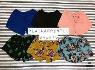 Plain and printed Shorts