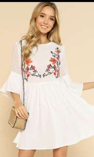 SHEIN Floral embroidered jacquard bodice smock dress