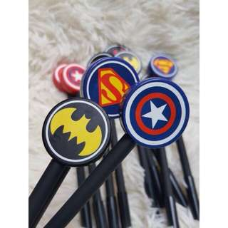 superheroes logo pen