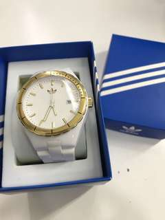 Adidas Unisex White and Gold Watch