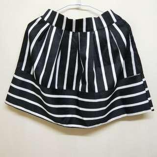 條紋腰鬆緊短裙