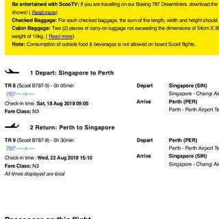 2 x Scoot Perth Air Tickets 18/8/18 to 22/8/18