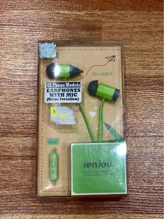 Green Earphones with Mic