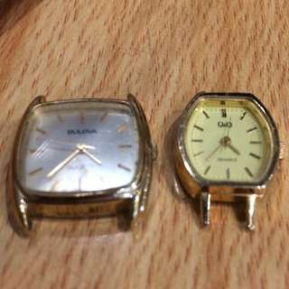 Vintage Watches Bulova & QQ (square and exquisite shape dial)