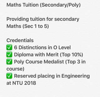 Maths Tuition (Primary/Secondary)